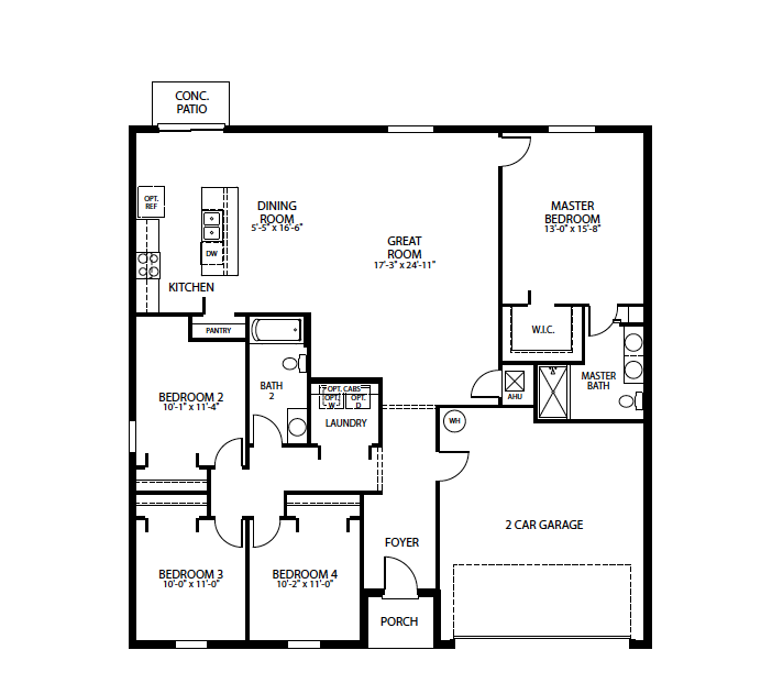 Unique zones in an open-plan home layout